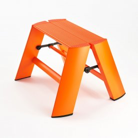 ESCABEAU PLIANT 1 MARCHE ORANGE EN ALUMINIUM