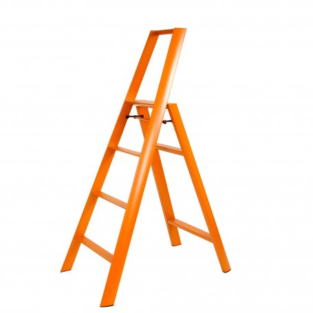 ESCABEAU PLIANT 4 MARCHES ORANGE EN ALUMINIUM