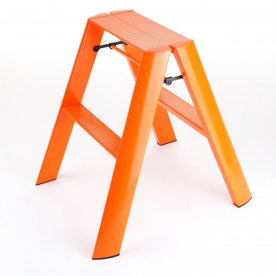 ESCABEAU PLIANT ORANGE 2 MARCHES EN ALUMINIUM